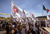 A group of supporters of the PRD party rallies during the local elections in Mexico state 1990
