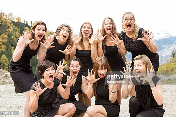 Group of surprised women