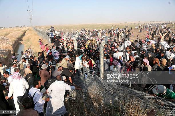 A group of Syrians fled from clashes cross Turkish Syrian border to take shelter in Turkey on June 14 2015 in Sanliurfa's Akcakale district Turkey...