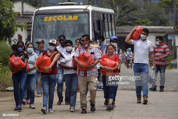 A group of teachers arrive at a shelter with donations for those affected by the mudslides caused by heavy rains in Mocoa Putumayo department...