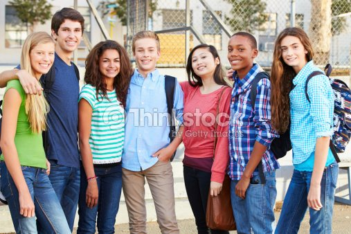 Group Of Teenage Pupils Outside Classroom : Stock Photo