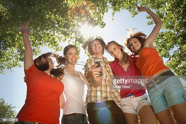 Group of teenager with mobile phone