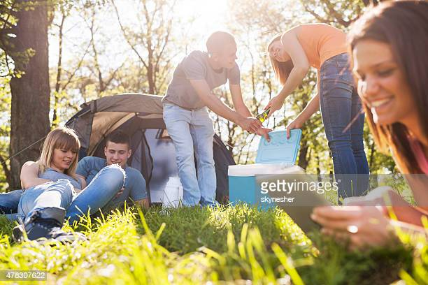 Group of teenagers enjoying on camping in springtime.