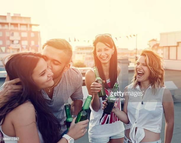 Group of teenagers on a rooftop party