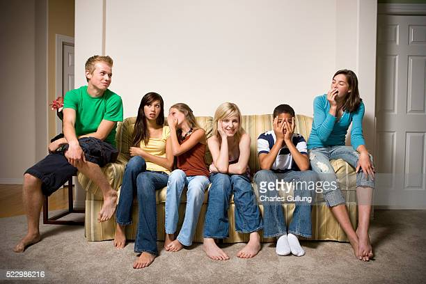 Group of Teenagers Sitting on the Sofa