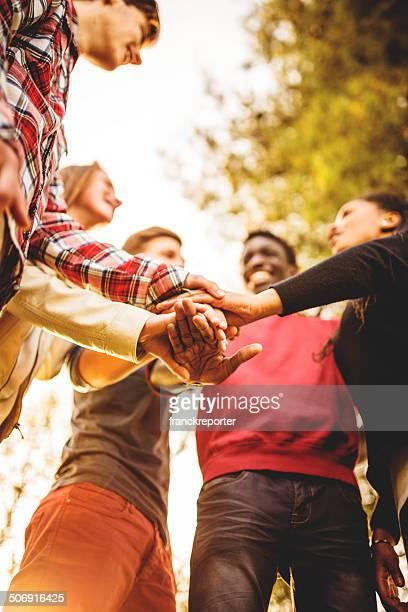 Gruppe von Teenagern, die Freiwilligen Glück
