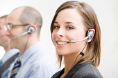 Group of Telecommunication Call Center People with Head Sets