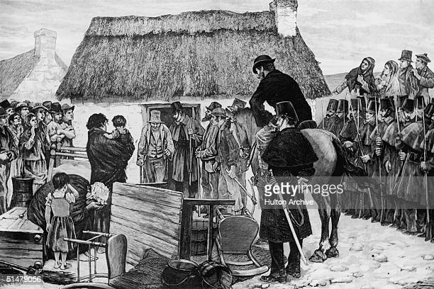 A group of tenants being forcibly evicted from their house in the west of Ireland 1881