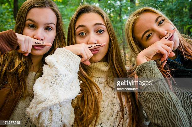 Group of three girls for Movember!