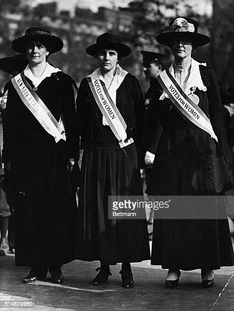 Group of three women suffragettes in the early 20th Century