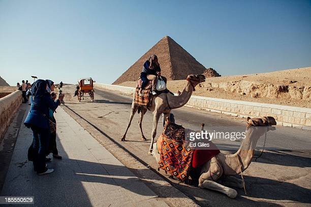 A group of tourists ride a camel while their friends look on at the Pyramids of Giza compound on October 21 2013 in Cairo Egypt The Pyramids of Giza...