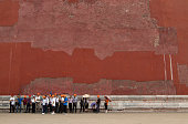 A group of tourists standing in line outside the Forbidden City Beijing China The Forbidden City was the Chinese imperial palace from the Ming...