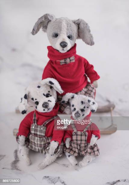 Group of Toys Dogs with red sweaters and checked bib overalls
