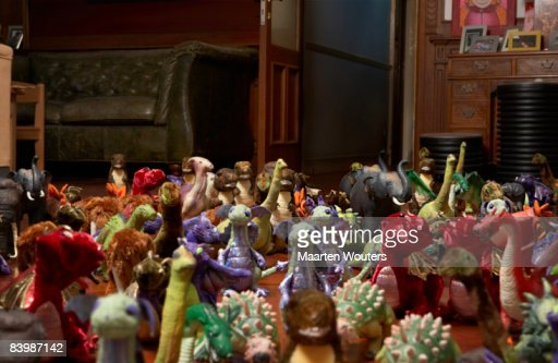 Group of toys in gathered around : Bildbanksbilder