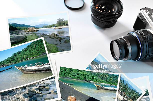 Group of travel pictures with modern digital camera and lens