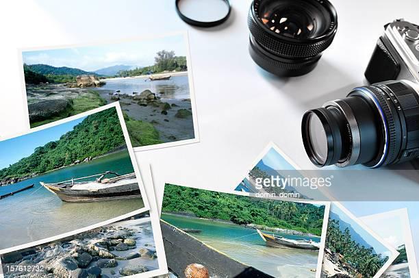 Grupo de fotos de viajes con la cámara digital y lente
