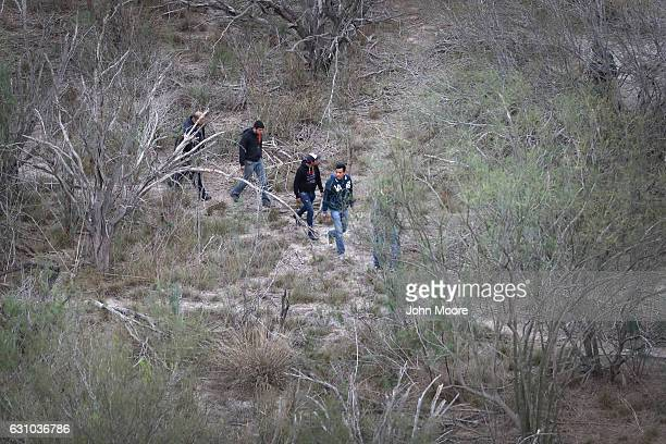 A group of undocumented immigrants walks along a path near the USMexico border on January 5 2017 near La Grulla Texas The number of immigrants...