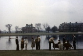 A group of unidentified models pose on the bank of the Charles River on the campus of Harvard University Cambridge Massachusetts 1961 The photo was...