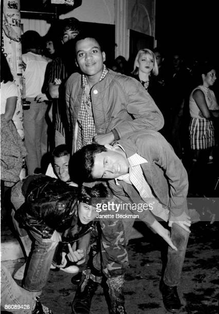 A group of unidentified young men clown around as they wait to attend an event at the Whisky a Go Go night club Los Angeles California late 1970s or...