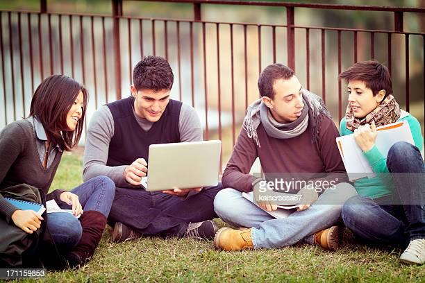 Groupe d'étudiants de l'université à l'aide d'ordinateur portable en plein air
