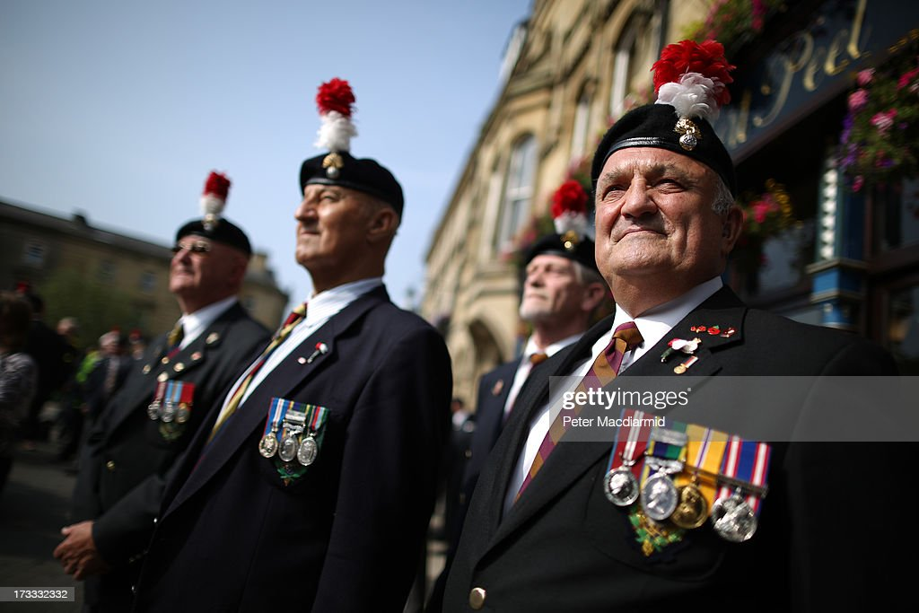 A group of veterans wait for the start of the funeral service for Fusilier Lee Rigby at Bury Parish Church on July 12 2013 in Bury England The Royal...
