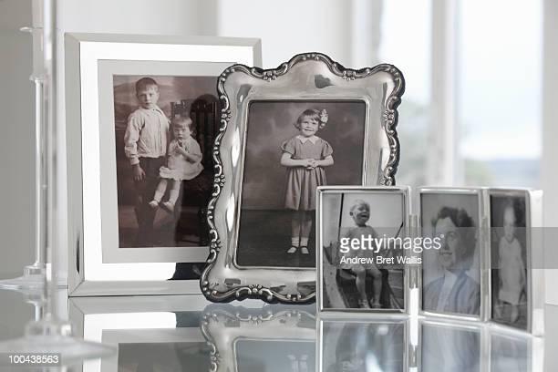 group of vintage framed family photographs
