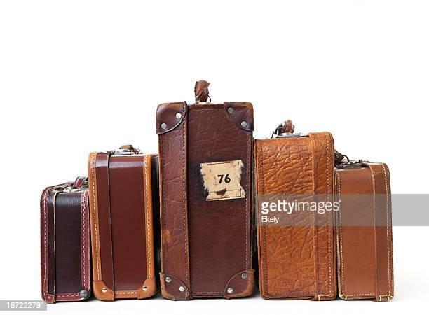 Gruppe von vintage-Koffer mit Etiketten.