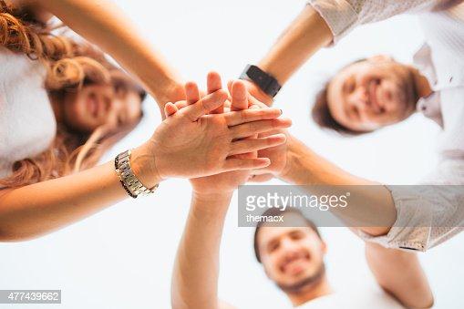 Group of volunteer look at camera