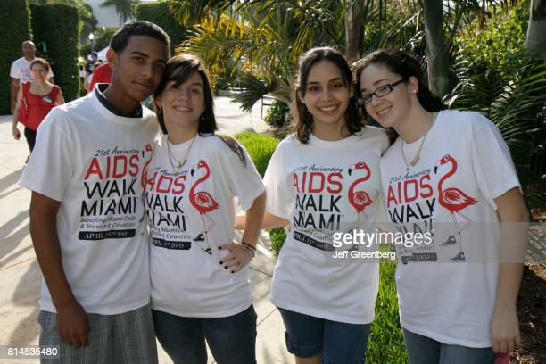 A group of volunteers wearing AIDS Walk Miami tshirts