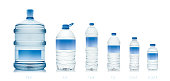 from 19 liter to 330 ml. drinking water bottles on white background