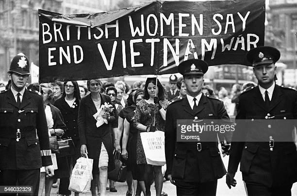 A group of women marching in protest against the Vietnam War 1967