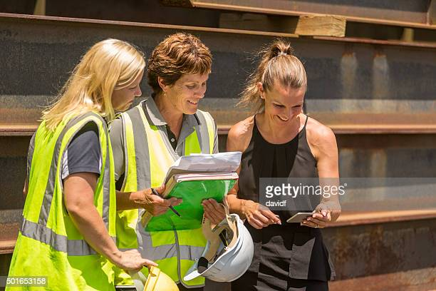 Group of Women on a Building Site Wearing Hi-Vis Clothes
