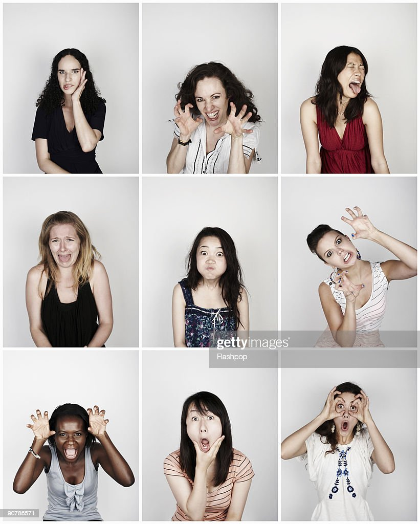 Group of women pulling funny faces