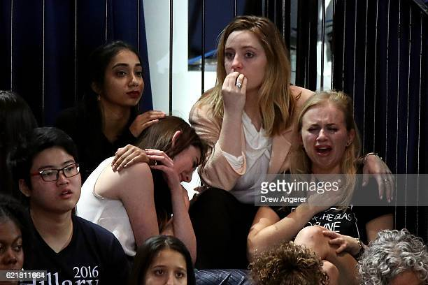 A group of women react as voting results come in at Democratic presidential nominee former Secretary of State Hillary Clinton's election night event...