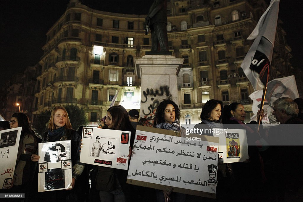 A group of women take part in a march against sexual harassment at Talat Harb Square, on February 12, 2013 in central Cairo, Egypt. A few hundred Egyptian men and women gathered at the Egyptian capital's Talat Harb Square on Tuesday to demonstrate against the continuing problem of sexual harassment of Egyptian and foreign women during demonstrations across Egypt. (Photo by Ed Giles/Getty Images).