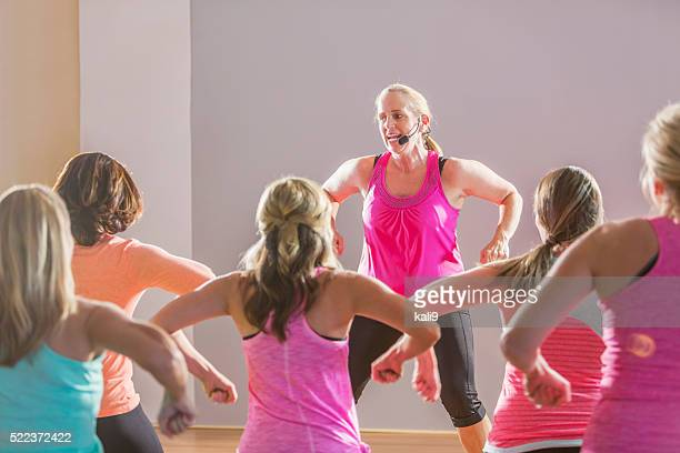 Group of women taking an exercise class