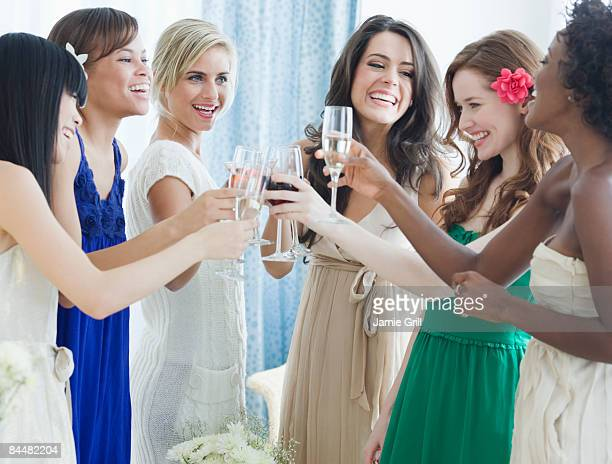 Group of women toasting at a party