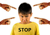 group of wood hands pointing finger to young sad and stressed schoolboy crying victim of abuse and bullying isolated on white background in kid harassed and bullied at school concept