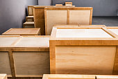 group of wooden boxes at a warehouse