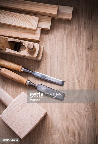 Group of wooden joiner's working tools on wood board : Stock Photo