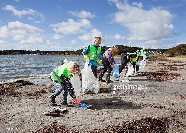 Group of workers cleaning beach