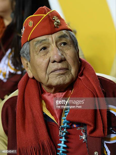 A group of World War II Navajo Code Talkers were honored before the Washington Redskins played the San Francisco 49ers at FedEx field on November...