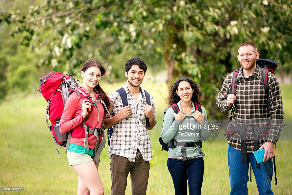 Group of young adult friends backpacking