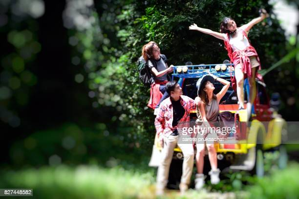 Group of Young Asian Camper Enjoy adventure Travel, Forest Park Outdoors . Holiday , vacation , summer concept .