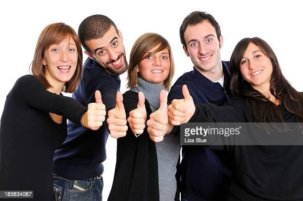 Groupe de personnes d'affaires jeune donnant Thumbs Up