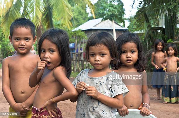 Group Of Young Cambodian Children Near Kompong Thom
