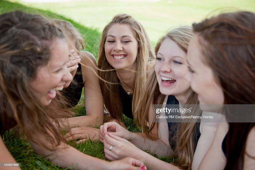 Group of young Caucasian women relaxing : Stock Photo