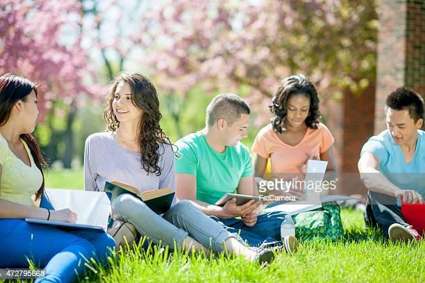 Gruppe von jungen Studenten im Freien