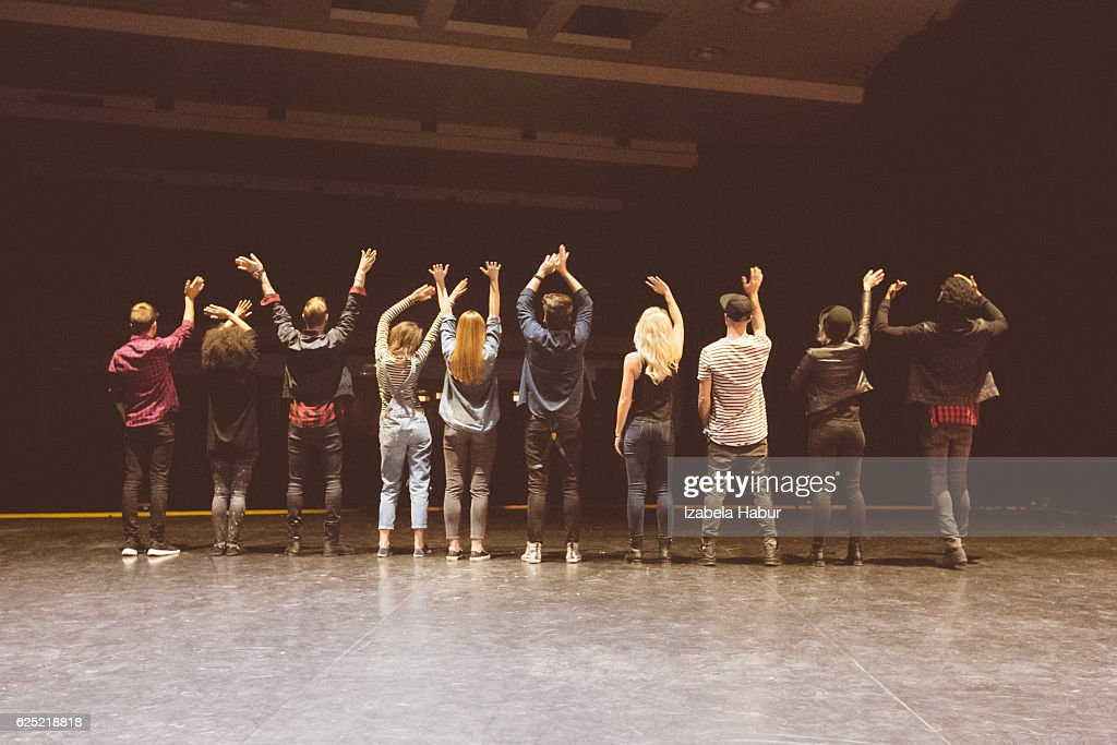 Group of young dancers on the stage : Stock Photo