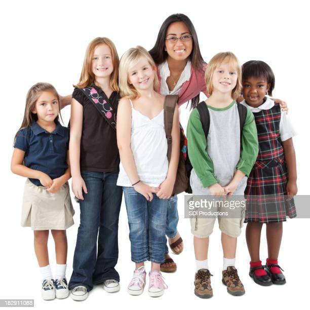 Gruppe von Jugendlichen Schüler mit Lehrer Grundschüler
